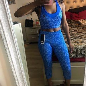 Adidas Blue Workout 2 Piece Matching  Set